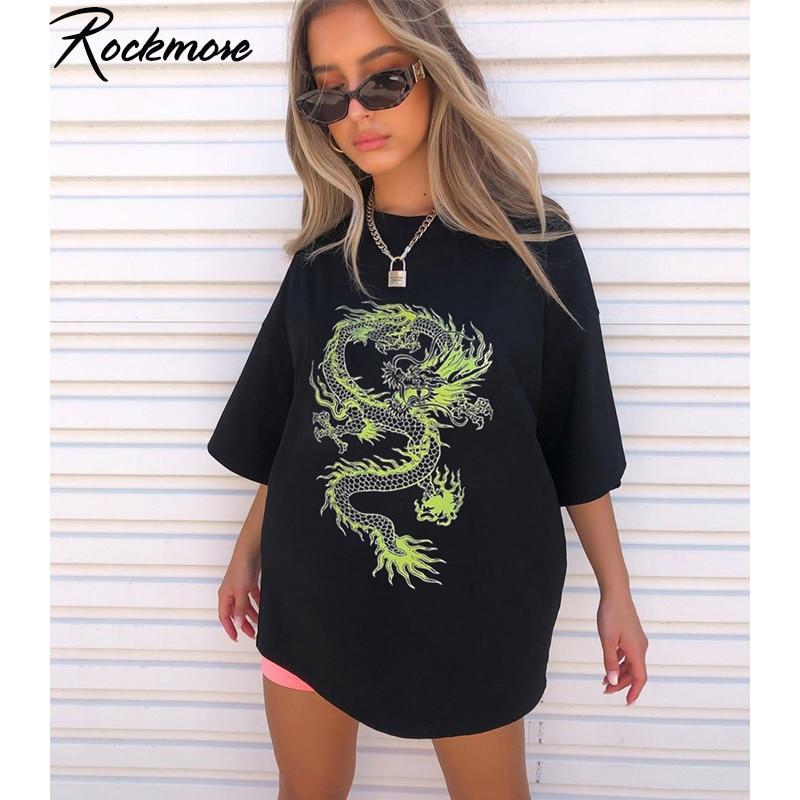 Rockmore ejderha baskı T-Shirt kadın artı boyutu kısa kollu Casual Streetwear boy uzun gömlek temel tişörtleri bayanlar yaz