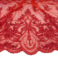 La Belleza 2019 New wedding dress lace fabric new design lace,Red beaded lace fabric crystal lace 1 yard