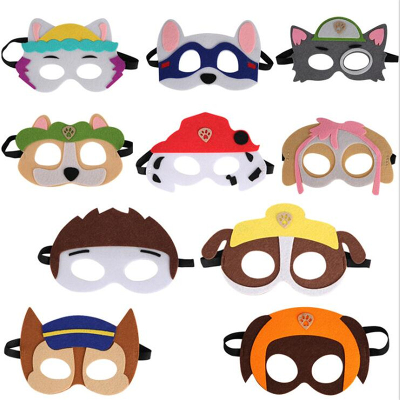 10 Pcs/Set Paw Patrol Dog Masquerade Ball Kids Patch Cartoon Shapes Mask Action Figure Children Christmas Halloween Party Gifts
