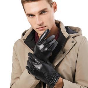 Image 2 - BISON DENIM erkek hakiki deri eldiven dokunmatik ekran koyun derisi sıcak eldivenler yeni kış kaliteli erkek sıcak kabartmak eldiven S003