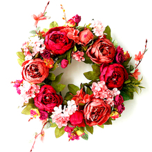 Autumn Peony Wreath Christmas Red Door Wall Hanging Garland Ornaments Wedding Decoration Home