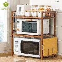 Estante de bambú de 2 niveles para microondas, estante de cocina de altura ajustable, organizador de especias, estante de almacenaje para cocina, soporte de utensilios de cocina