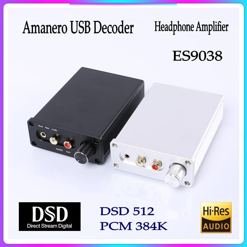 ES9038Q2M ЦАП цифровой интерфейс USB 32Bit 384 к RCA 3,5 мм Выход аудио декодер усилитель для наушников Звуковая карта для Amanero