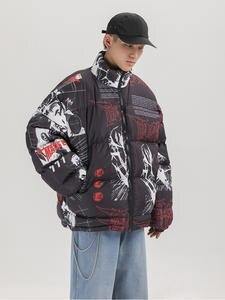 Padded Jacket Windbreaker Harajuku-Coat Graffiti-Print Streetwear Japanese Men Winter