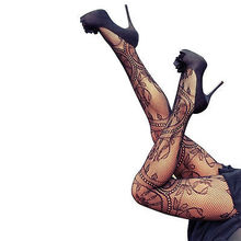 цена на Fashion Black Fishnet Pattern Jacquard Pantyhose Tights Floral Totem Tights Sexy Stocking Hot Sale Women Stockings
