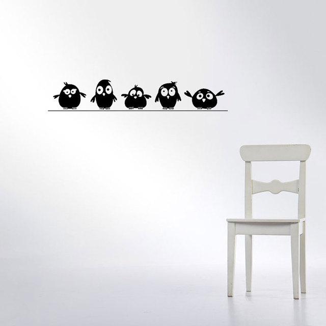 Cute 5 Little Birds on the Wire Wall Stickers Door Stickers for Kids Room Living Room Art Decals Cartoon Animal Waterproof Vinyl 2