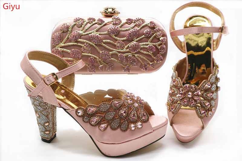 doershow  fashion lady Shoes and Bag Set Italy pink Color Italian Shoes with Matching Bag Set Decorated with Rhineston!HGX1-1
