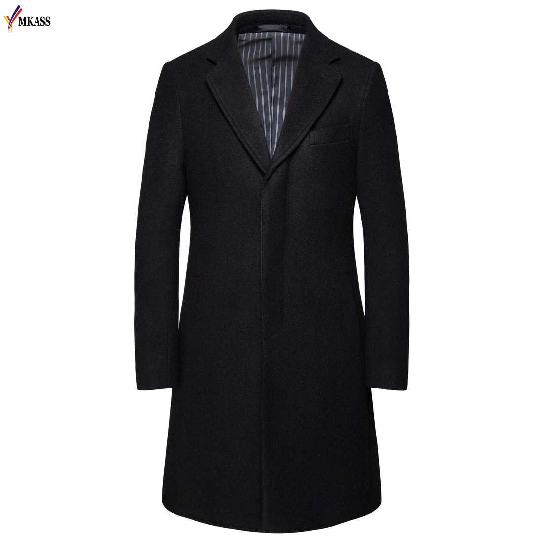 Men/'s Trench Coats Long Sleeve Cardigan Knee Length Casual Windproof Overcoat US