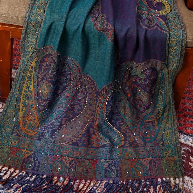 Wool Blend Female Mujer Bufanda Lady Handmade Shawls Cashmere Blend Cachecol Feminino Autumn Winter Thicken Wrap Pashmina