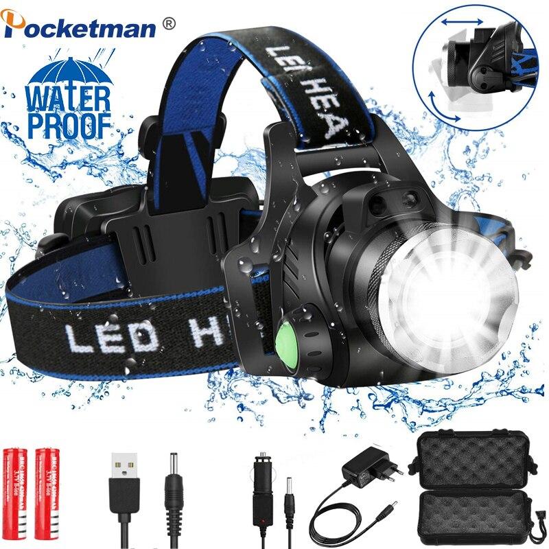 Налобные фары Мощный светодиодный налобный фонарь L2/T6 масштабируемый налобный фонарь 18650 Аккумулятор для рыбалки Huntingz30