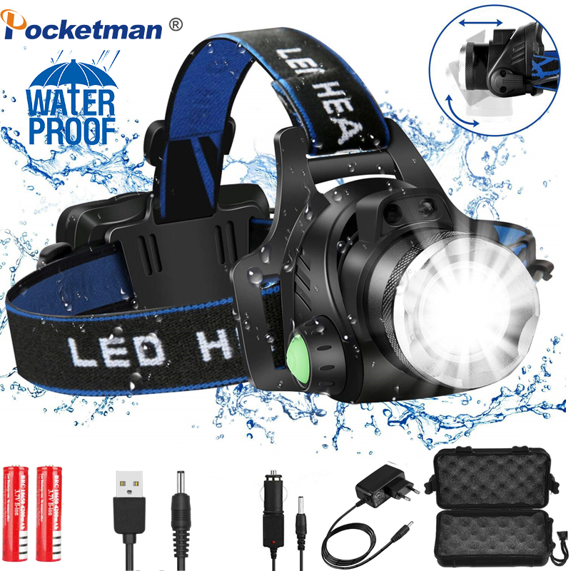Headlamps Powerful Led Headlamp L2/T6 Zoomable Headlight Head Torch Flashlight Head Lamp By 18650 Battery For Fishing Huntingz30