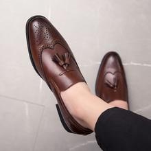 ZSAUAN Big Size 38-48 Men Brogue British Oxford Dress Shoes Male Gentleman PU Leather Footwear Flats Tassel Loafers