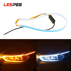 LEEPEE 1pc White Yellow Ultrafine DRL 12V Car LED Strip 45 60cm Daytime Running Light Turn Signal Lamps Flexible Soft Tube Guide