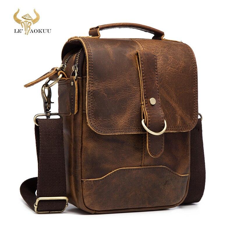 """Couro original design masculino casual ombro mensageiro bolsa de moda 8 """"tote crossbody mochila bolsa para homens 143-g"""
