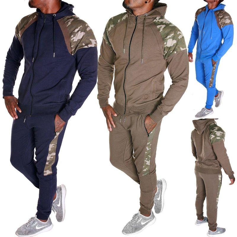 ZOGAA Autumn Men Hooded Sweatsuit Camouflage Patchwork Casual Tracksuit Male Sweatshirt+Sweatpants 2 Pieces Of Set Sport Suit