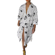 Women Letter Printed Newspaper Dress Long Sleeve Button Midi Dress AM0948|Dresses| |  - AliExpress