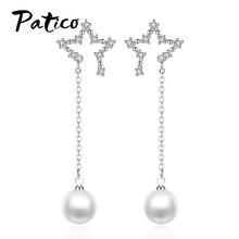цена на Star Shape 925 Sterling Silver Cubic Zirconia CZ Long Drop Earrings For Women Korean Imitation Pearl Piercing Ear Rings Jewelry