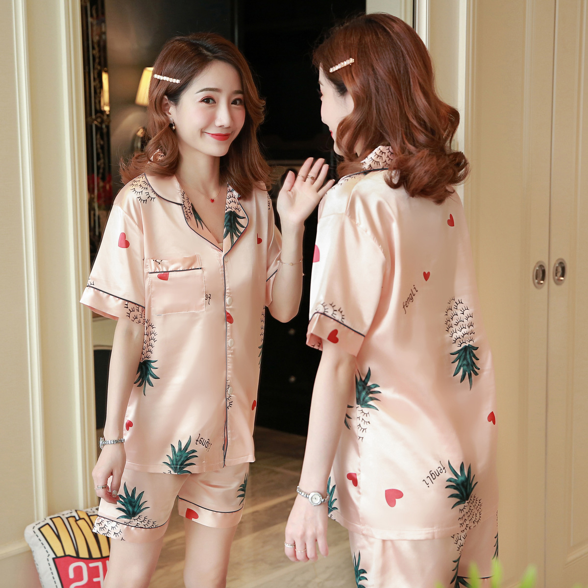 New Style Summer Comfortable Short Sleeve Imitated Silk Fabric Sweet Pajamas Underwear Cardigan Thin-Seamless Women's Home Wear