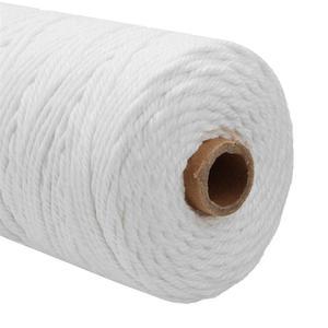 Image 4 - Cable de algodón blanco duradero de 200m, artesanía de cuerda trenzada Beige Natural, cordón de macramé, bricolaje, suministro decorativo para el hogar hecho a mano de 3mm