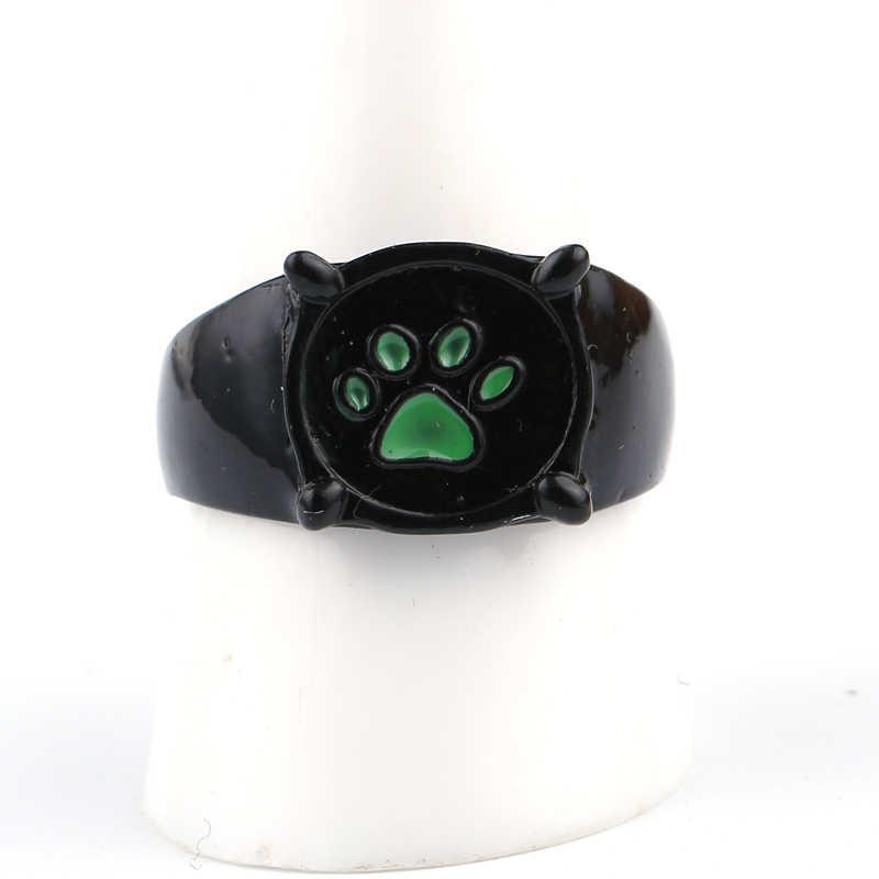 Gothic การ์ตูน Ladybug Cat Noir การ์ตูน Noir สีเขียว Pawprint แหวนสำหรับผู้ชายผู้หญิงอะนิเมะสีดำแมว PAW แหวนเคลือบ PUNK เครื่องประดับของขวัญ