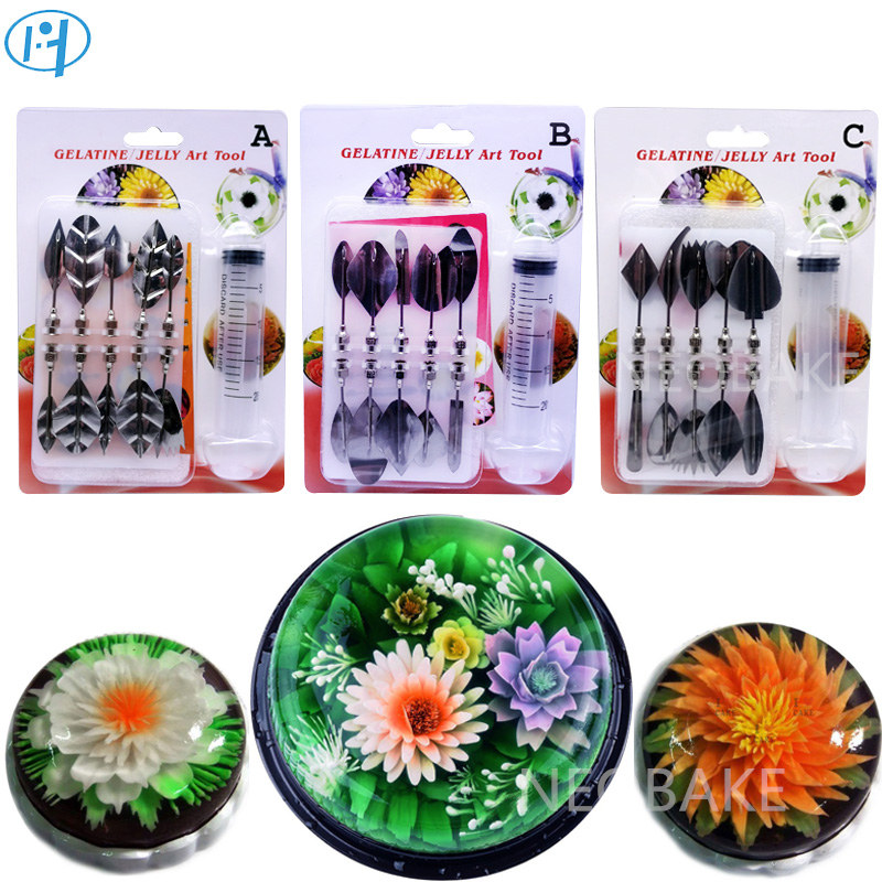 33 PCS Flowers Leaves 3D Jelly Flower Art Tools Jelly Cake Gelatin Pudding Nozzle Syringe Nozzle Set Cake Decorating Tools