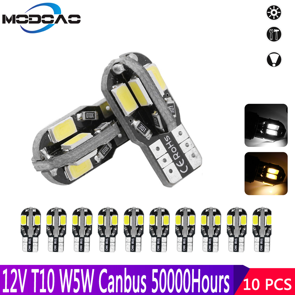 10pcs T10 W5W LED 5730 194 168 8SMD CANBUS Error Free Warm White 12V Side Wedge Lights Marker Door Lamp LED Car Signal Bulb