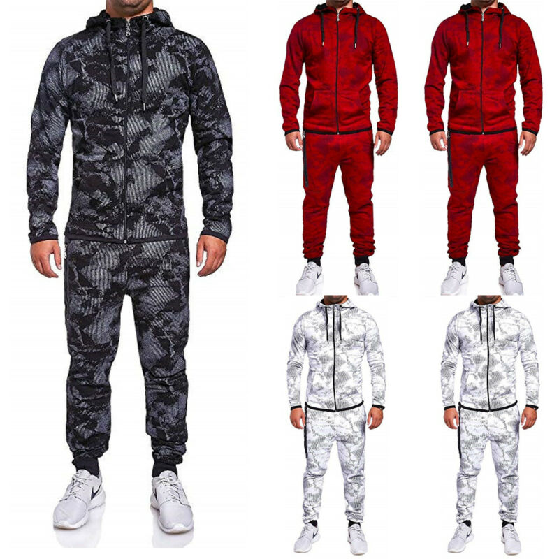 2019 New Fashion Autumn/Winter Warm Elegant Mens Tracksuit Set Hoodie Sweatsuit  Fit Casual Top Bottoms Joggers