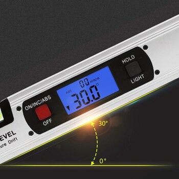 400 ミリメートルホワイトデジタルアングルファインダーレベルメーター直立傾斜計 360 度範囲スロープテスト定規分度器定規ゴニオメータゲージ
