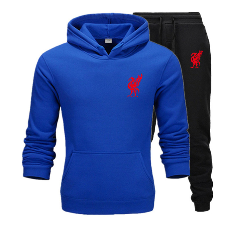 2020 New 2 Pieces Men's Sets Casual Hoodies Sweatshirts Hip Hop Pullover Autumn Sportswear+Pants Men Brand Clothing Plus Fleece