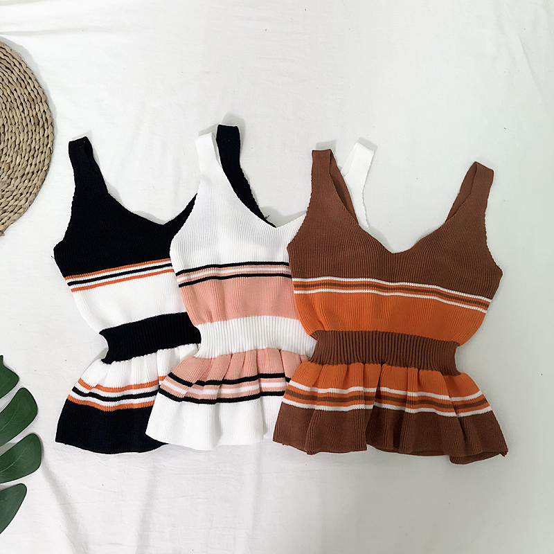 HELIAR Women Patchwork Striped Crop Tops Knitted Tank Tops Ladies High Waist Sexy Slim Female Night Club Sexy Camis 2020 Summer