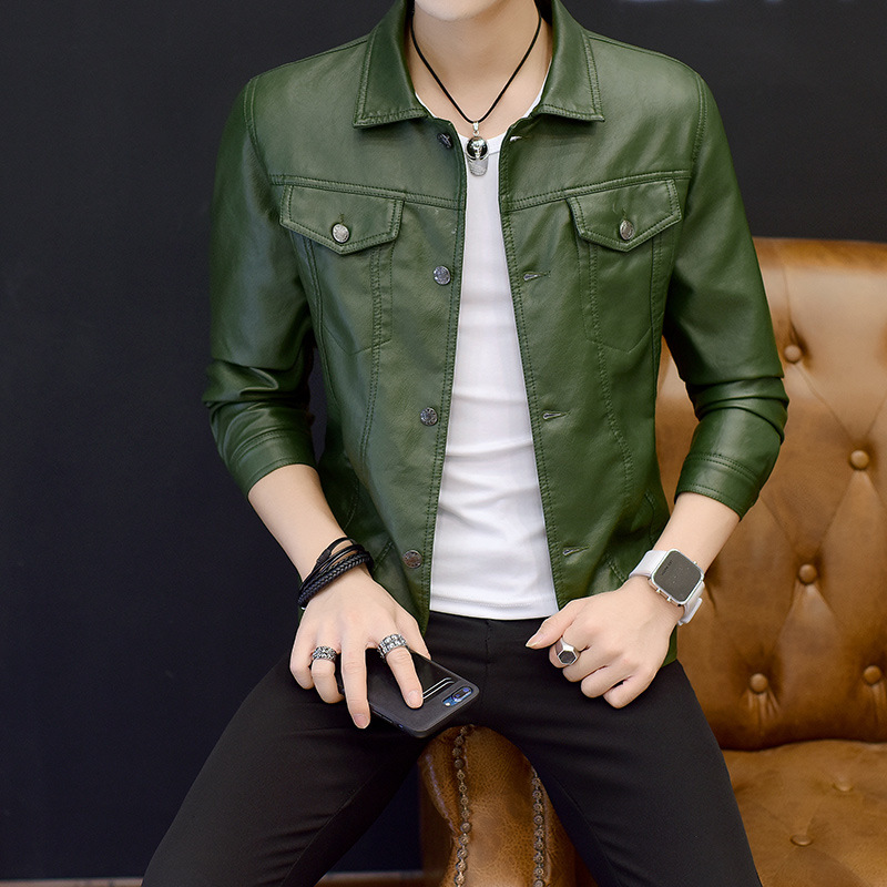 2019 Spring And Autumn New Style Men Leather Coat Korean-style Casual Men'S Wear PU Leather Jacket