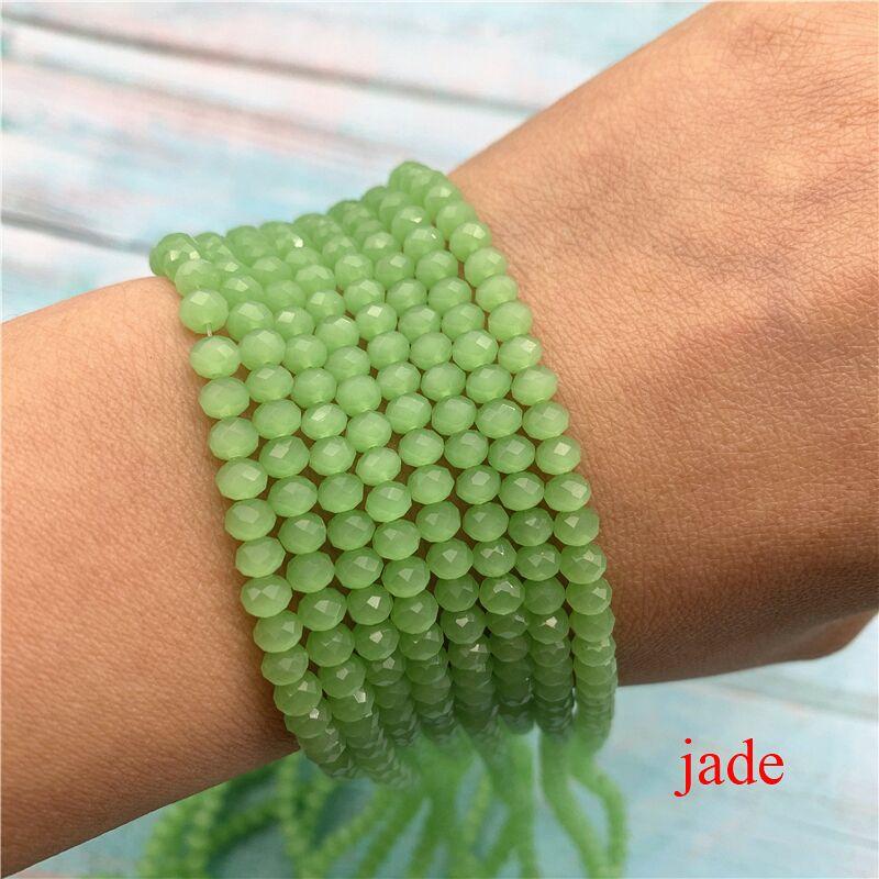 40 цветов 1 нить 2X3 мм/3X4 мм/4X6 мм хрустальные бусины rondelle хрустальные бусины стеклянные бусины для самостоятельного изготовления ювелирных изделий - Цвет: Jade