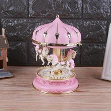 Деревянный светодиодный музыкальная шкатулка карусель круглые музыкальные шкатулки Декор светящаяся карусельная лошадка музыкальная шкатулка Рождество Свадьба День рождения подарок