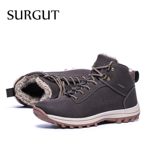 Image 5 - SURGUT  2021 Fashion Winter Snow Boots For Men Male Casual Shoes Adult Quality Rubber High Top Super Warm Plush Warm Ankle Boots