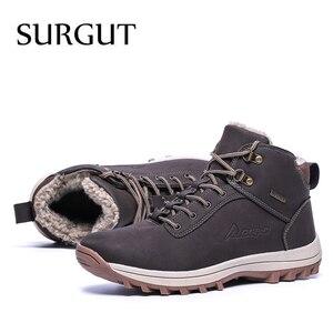 Image 5 - SURGUT 2021 패션 겨울 눈 부츠 남성 캐주얼 신발 성인 품질 고무 높은 상위 슈퍼 따뜻한 봉 제 따뜻한 발목 부츠