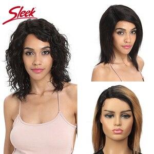 Image 1 - Гладкие парики из человеческих волос, влажный и волнистый парик, парики из 100% бразильских волос Remy, Короткие парики TT1B/27, парики на сетке с эффектом омбре, плотность 150%