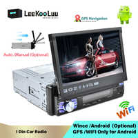 LeeKooLuu 1 Din Android 7,1 Auto Radio Mit Auto Versenkbare Bildschirm Universal Radio Bluetooth Wifi Mirrorlink GPS Auto multimedia