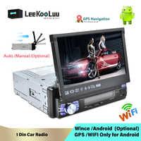 LeeKooLuu 1 Din Android 7.1 Autoradio Con Auto Schermo A Scomparsa Universale Radio Bluetooth Wifi Mirrorlink GPS Car multimedia