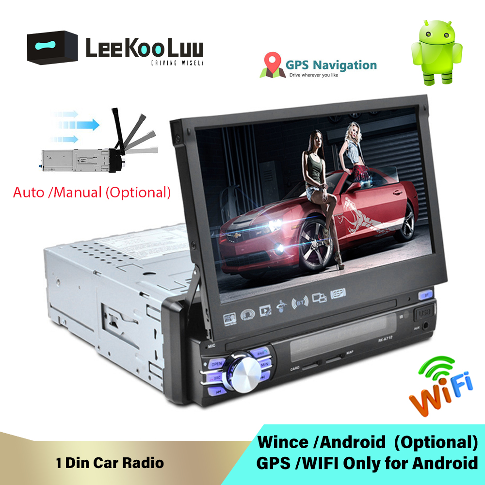 LeeKooLuu <font><b>1</b></font> <font><b>Din</b></font> Android 7.<font><b>1</b></font> autoradio avec écran rétractable automatique Radio universelle Bluetooth Wifi Mirrorlink GPS voiture multimédia image