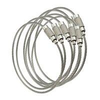 10 Uds de alambre de acero inoxidable Cable con llavero cuerda clave llavero clave anillos de cadena de las mujeres de la joyería de los hombres clave titular