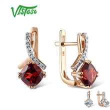 VISTOSO Gold Earring For Women Genuine 14K 585 Rose Gold Radiant Garnet Sparkling Diamond Earring Engagement  Wedding Jewelry
