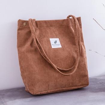 Women Corduroy Shopping Bag Female Canvas   5