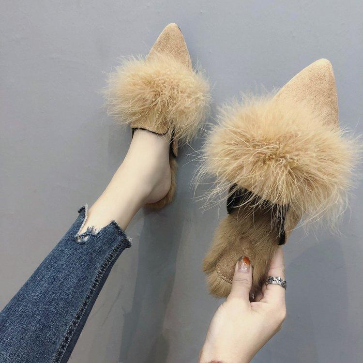 Autumn Winter women Flats shoes women Shallow Slip-On Pointed Toe women shoes Casual Plush fur Shoes woman Mujer Zapatos 23