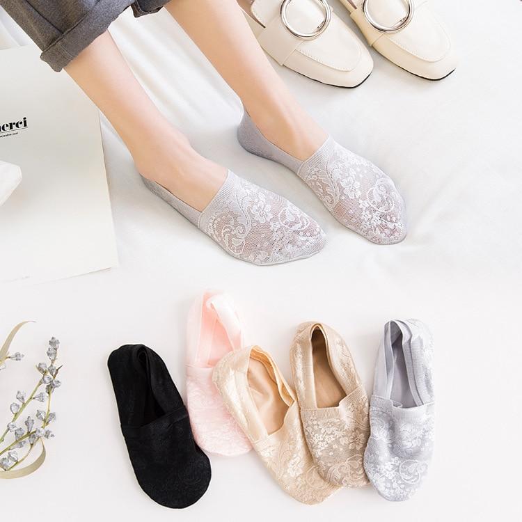 2020 Socks New 5 Pairs Fashion Women Girls Summer Socks Style Lace Flower Short Sock Antiskid Invisible Ankle Socks New 7 Colors