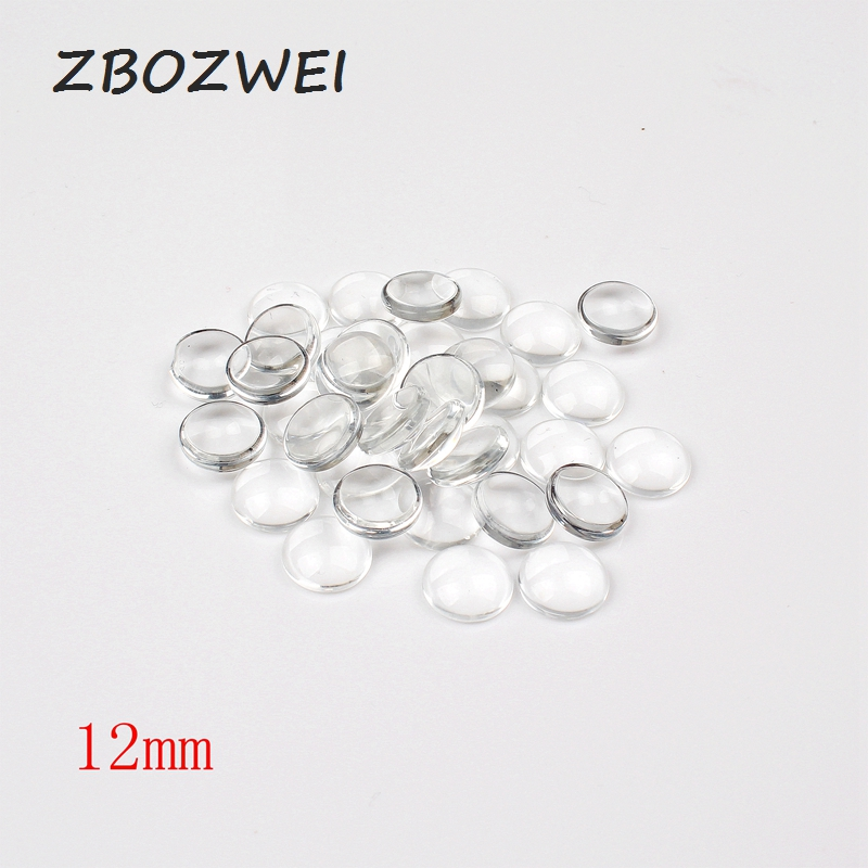 50pcs/lot 12mm Round Flat Back Clear Glass Cabochon, High Quality, Lose Money Promotion!