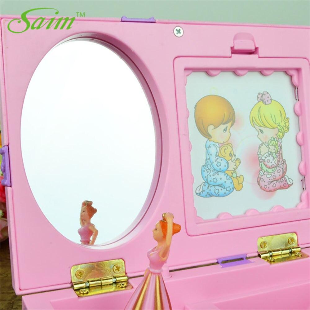 Saim Dream Girl Music Box Plastic Musical Jewelry Boxes Hand Crank Music Box Dancing Ballerina Music