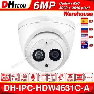 Dahua IPC-HDW4631C-A 6MP HD POE Network Mini Dome IP Camera Metal Case Built-in MIC CCTV Camera 30M IR Night Vision Dahua IK10(China)