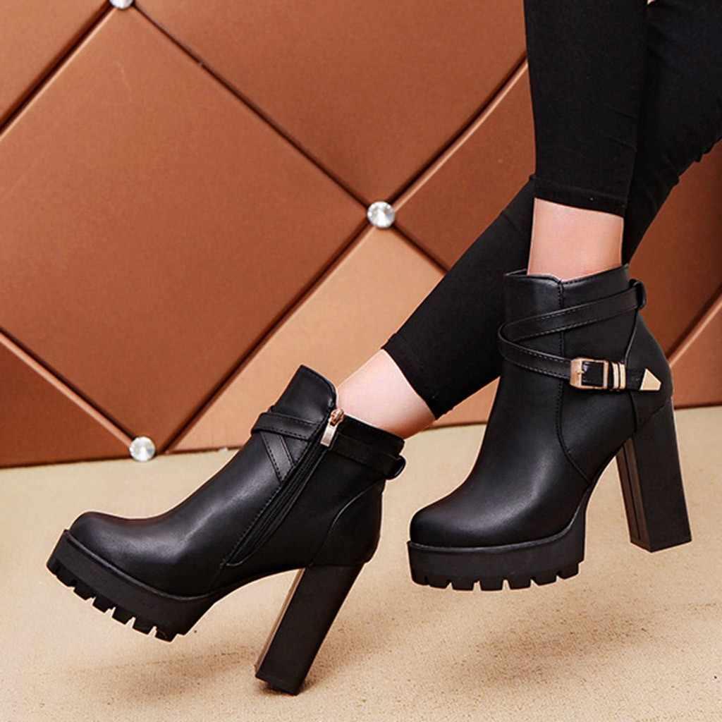 Boucle sangle Bottes femmes mode plates-formes Zipper ceinture boucle talons bout rond Bottes automne hiver chaussures Femme Bottes Femme