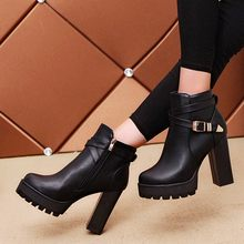 Buckle Strap Boots Women Fashion Platforms Zipper Belt Buckle Heels Round Toe Boots Autumn Winter Shoes Woman Bottes Femme(China)