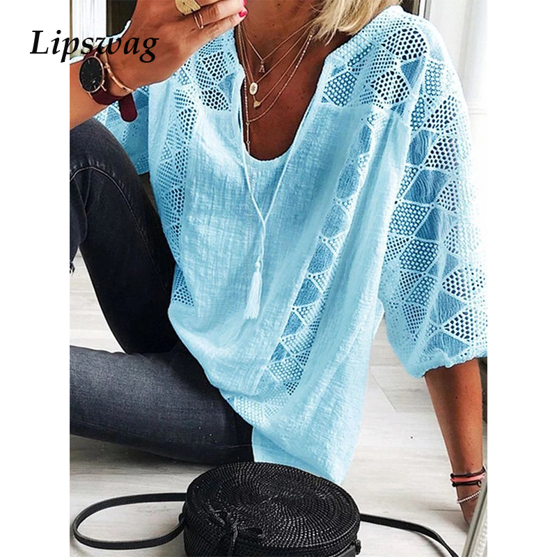 Casual Plus Size Loose Cotton Line Blouse Summer Sexy V Neck Tassel Shirt Spring Three Quarter Sleeve Hollow Out Lace Tops Blusa